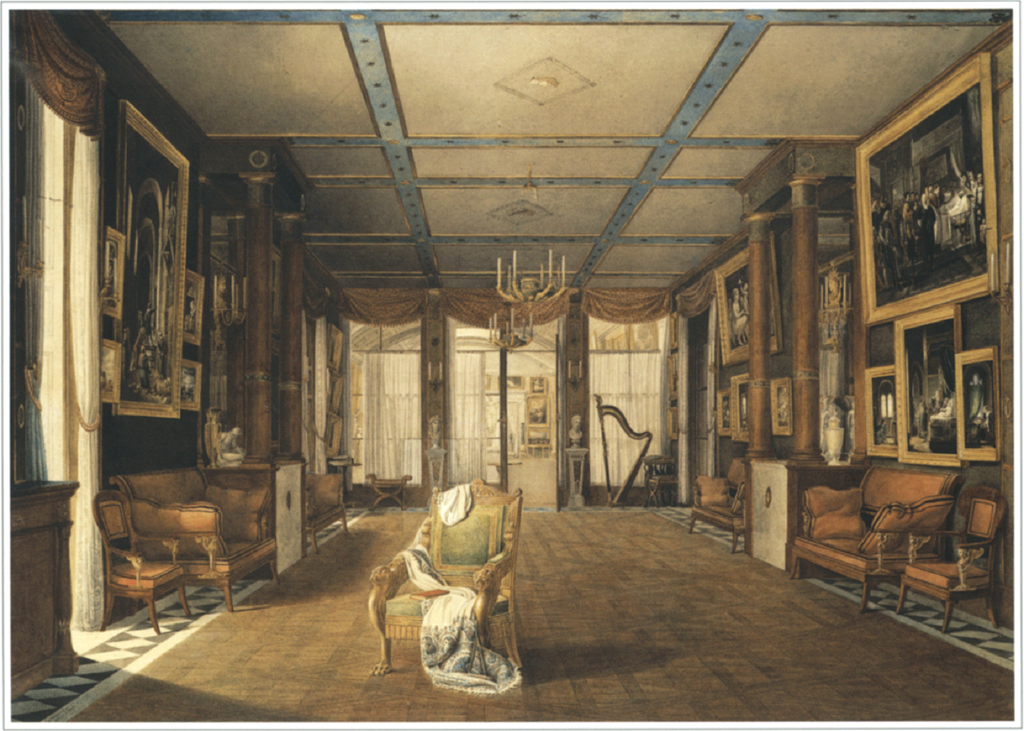 Image: Oil painting of a music salon with a cashmere shawl draped on the chair, England, 1789