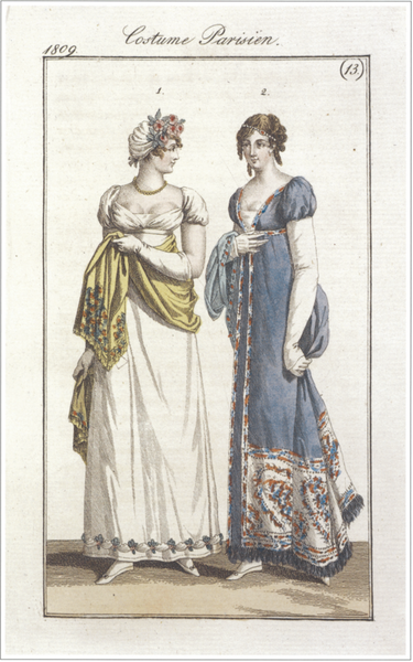 A French fashion magazine plate from 1809, Pashmina shawl (L) and Pashmina embroidered gown (R)