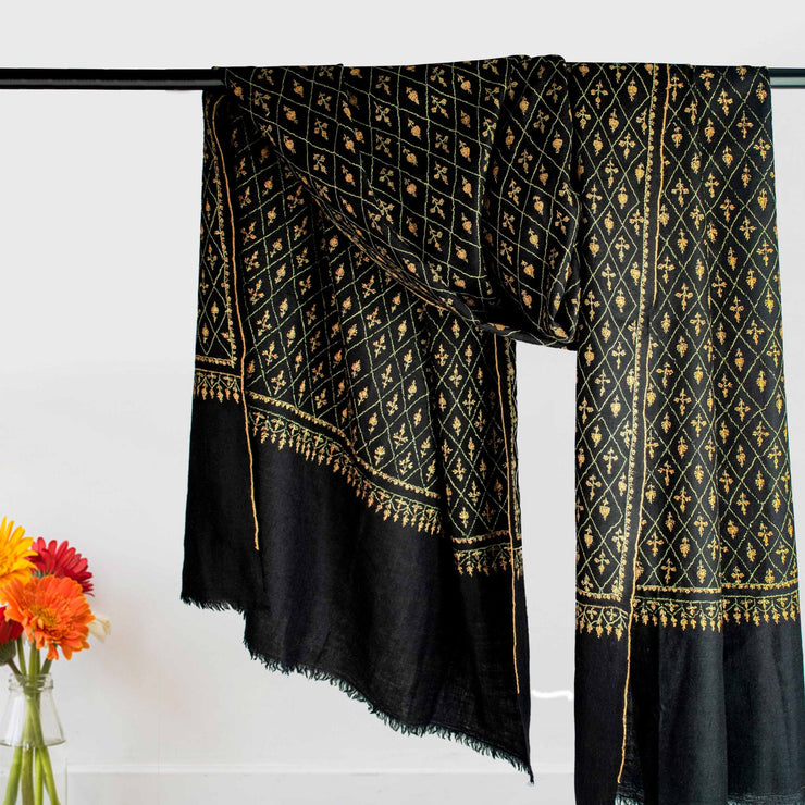 Embroidered Black Certified Cashmere Scarf
