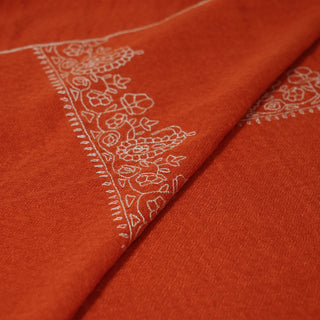 Rust Orange and White Kashmiri Sozni Embroidery stole