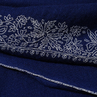 Royal Blue and White Kashmiri Sozni Embroidery stole