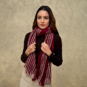 Burgundy Striped Natural Cashmere Scarf