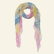Multicoloured Pastel Scarf With Shibori Tie-dye