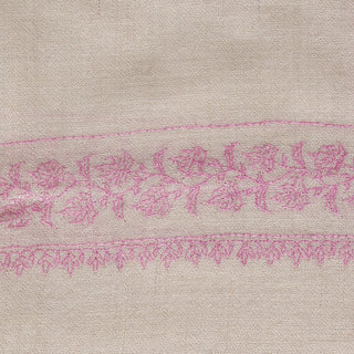 White and Pink Kashmiri Sozni Embroidery stole