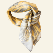 Antique Gold and Silver Grey Marbling Silk Scarf