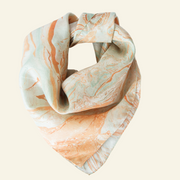 Beige Orange and Sea Green Silk Scarf