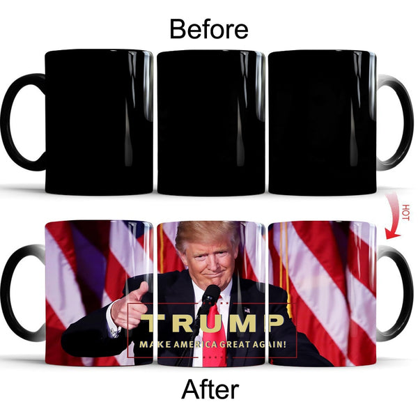 Donald Trump Ceramic coffee mugs Color Changing Magic Heat sensitive Tea Milk Cup