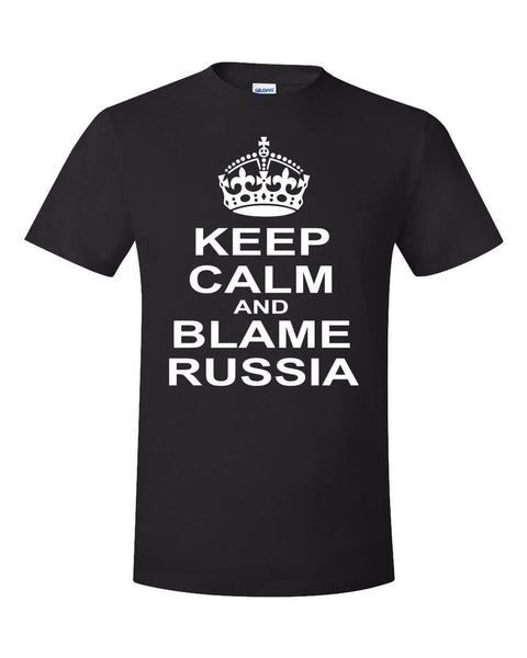 2019 Fashion Keep Calm Blame Russia Meme Shirt Fake News Democrat Propaganda Trump Kek Funny Unisex Tee