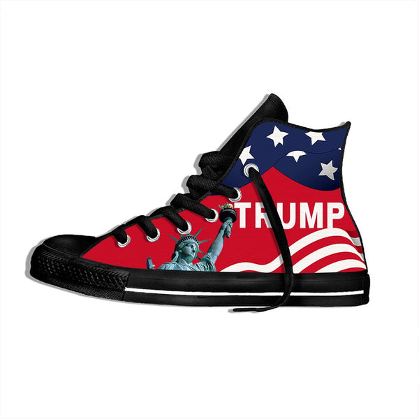 Men/Women Breathable Fashion Trump USA Flag Sneakers Lightweight High Top Shoes Statue of Liberty Casual Shoes Flat Canvs