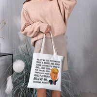 New Style Cute Donald Trump Funny Shopping Bag Canvas Reusable Eco Bags Storage Bags