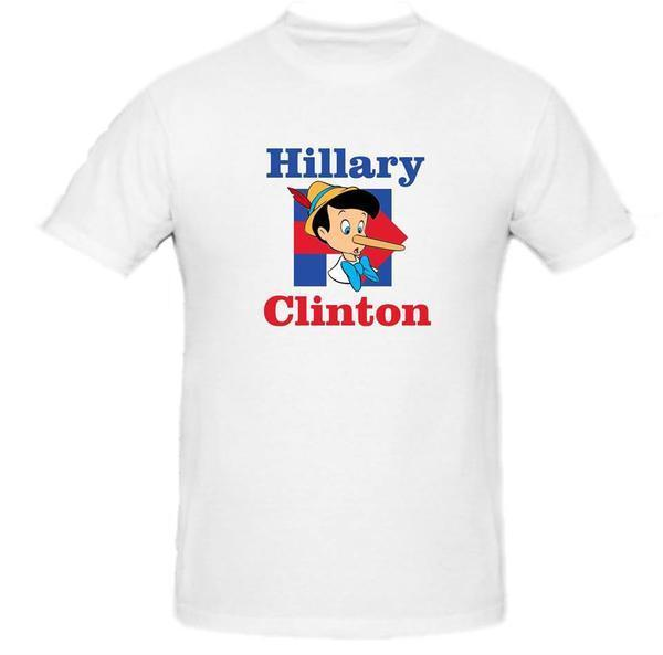 Hillary Clinton Pinocchio T Shirt Tee President Election Democratic Sm-2XL Summer Short Sleeves Fashion T-Shirt Free Shipping