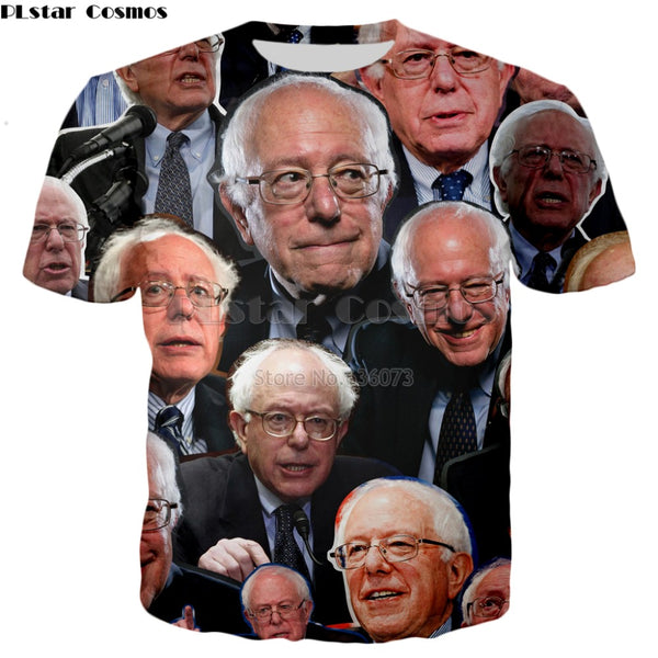 PLstar Cosmos Drop shipping 2018 summer New style Fashion T-shirt celebrity Bernie Sanders Print 3d Men's Women's Casual t shirt