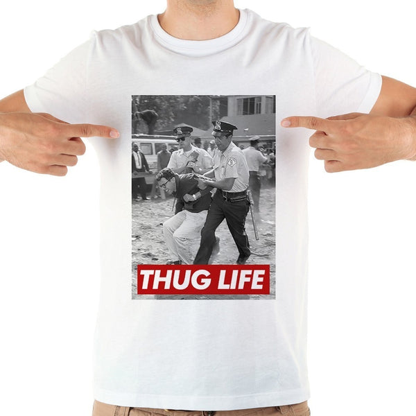 Bernie Sanders Thug Life funny t-shirt men 2019 summer new white short sleeve casual t shirt street wear