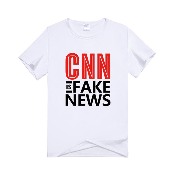 Donald Trump 2020 CNN Is Fake News Letter Printed Men white Color Funny T-Shirt Trend Short Sleeve Round Neck Tops Shirt