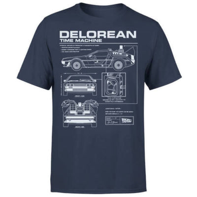 T-Shirt Retour vers le Futur DeLorean Schematic - iONiQ SHOP