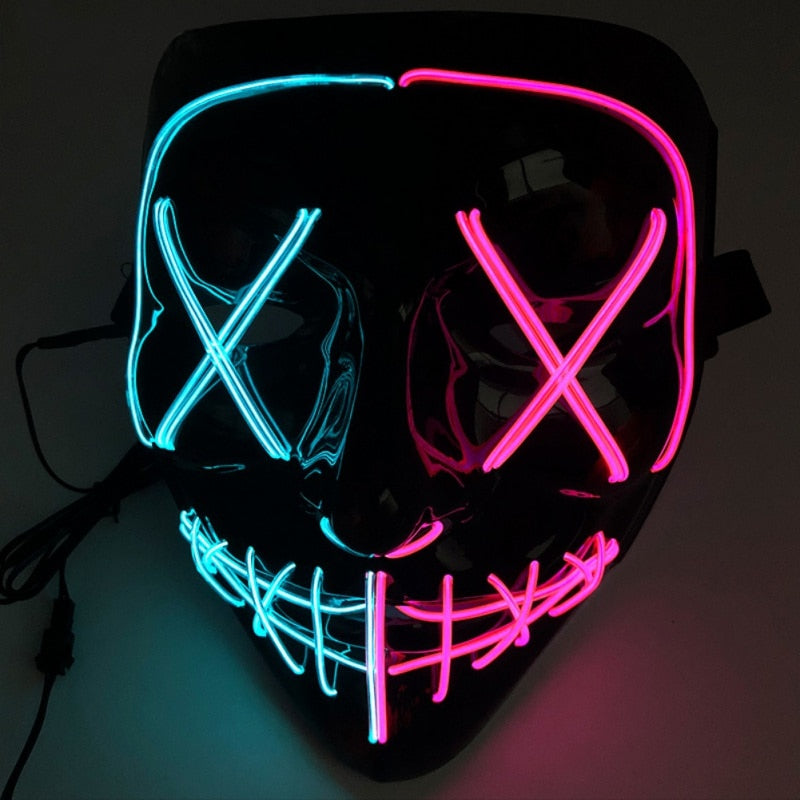 Masque LED Halloween BiColor - Glowing Mask LED | IONIQ SHOP