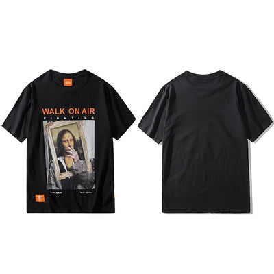 Street Wear T-Shirt Smoking Mona Lisa | Japan Urban Wear - iONiQ SHOP