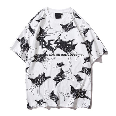Street Wear T-Shirt Little Shark | Japan Urban Wear - iONiQ SHOP