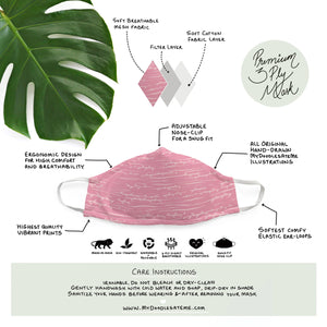 Blush Pink Flora - Minimal Formals | Illustrated Premium Face Mask