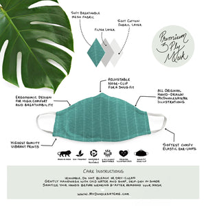 Leafy Lines - Minimal Formals | Illustrated Premium Face Mask
