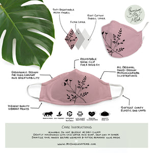 Blush Pink Floral Illustrated Premium Face Mask