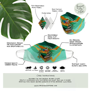 'You're going to have the best adventures' Illustrated Premium Face Mask