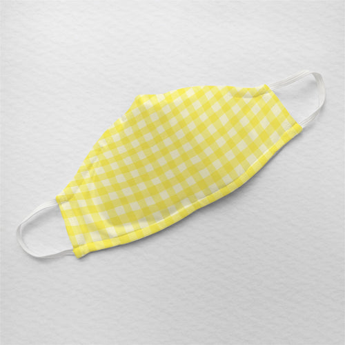 Yellow Gingham - Minimal Formals | Illustrated Premium Face Mask