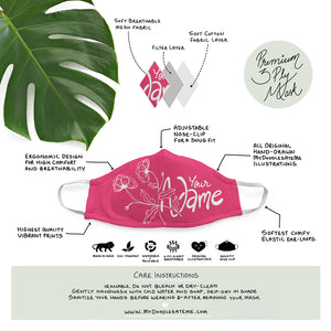Personalized - Fuchsia Pink Illustrated Premium Face Mask