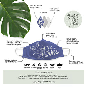 Personalized - Indigo Blue Illustrated Premium Face Mask