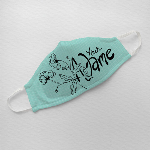 Personalized - Mint Green Floral Illustrated Premium Face Mask