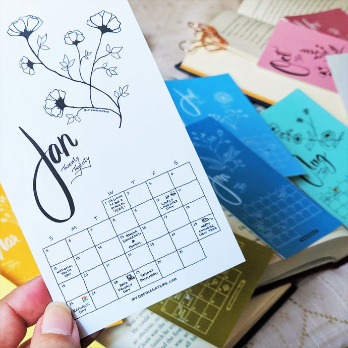 Bookmark of the Month - 2020 Monthly Calendar Bookmarks (Set of Twelve Bookmarks/Notecards) - MyDoodlesAteMe