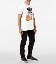 Load image into Gallery viewer, Gangsta Cats Unisex Premium Cotton T-Shirt (White) - MyDoodlesAteMe