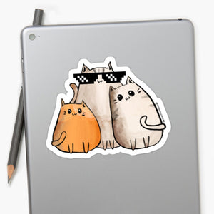 Gangsta Cats Laptop Sticker - MyDoodlesAteMe