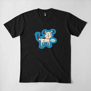 Doggo Bork Puppy Unisex Premium Cotton T-Shirt (Black) - MyDoodlesAteMe