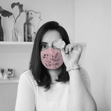 Load image into Gallery viewer, Blush Pink Floral Illustrated Premium Face Mask