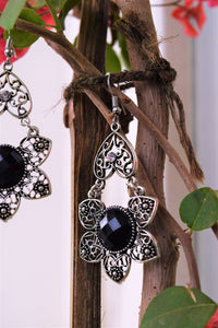 Black Crystal Floral Dangler Earrings - MyDoodlesAteMe