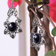 Load image into Gallery viewer, Black Crystal Floral Dangler Earrings - MyDoodlesAteMe