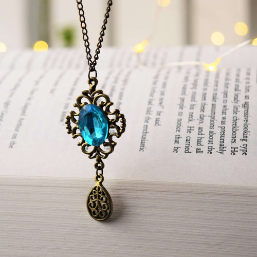 Blue Tear Drop Crystal Filigree Pendant - MyDoodlesAteMe