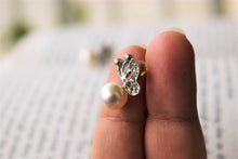 Load image into Gallery viewer, Butterfly on a Pearl Studs - MyDoodlesAteMe