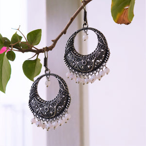 Oxidised Chandbali Danglers (Off-White Beads) - MyDoodlesAteMe