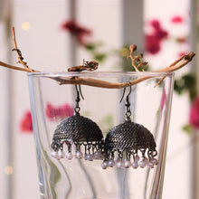 Load image into Gallery viewer, Gunmetal Grey Pearl Jhumkas - MyDoodlesAteMe