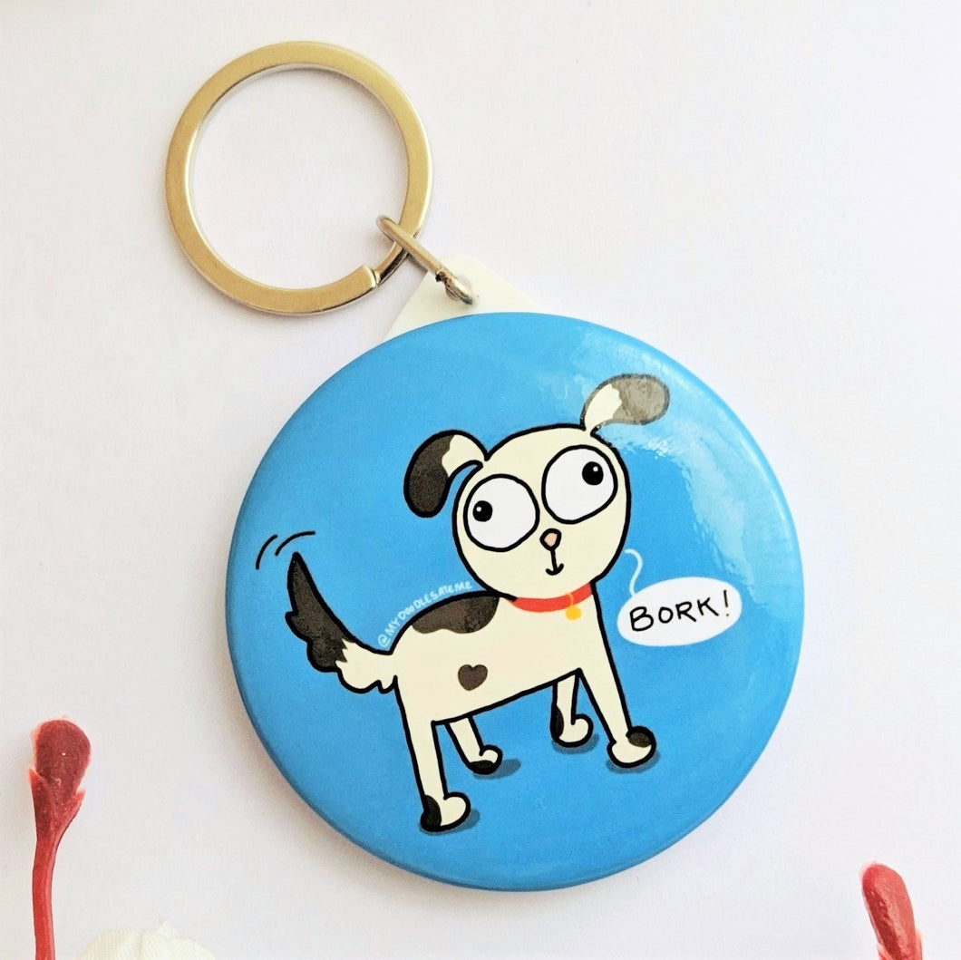 'Bork!' Dog Lover Pocket Mirror & Keychain (Ocean Blue) - MyDoodlesAteMe