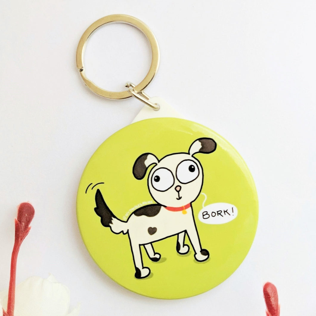 'Bork!' Dog Lover Pocket Mirror & Keychain (Grass Green) - MyDoodlesAteMe