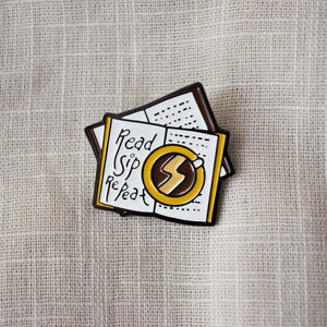 Read Sip Repeat Enamel Pin - MyDoodlesAteMe
