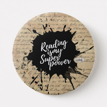 Load image into Gallery viewer, Reading Is My Superpower (Vintage Parchment) Fridge Magnet (+ Pin Badge) - MyDoodlesAteMe