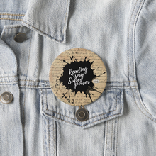 Load image into Gallery viewer, Reading Is My Superpower (Vintage Parchment) Pin Badge - MyDoodlesAteMe