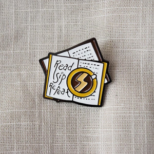 Injured Goodies > Read Sip Repeat Enamel Pin - MyDoodlesAteMe
