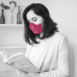 Fuchsia Pink Floral Illustrated Premium Face Mask