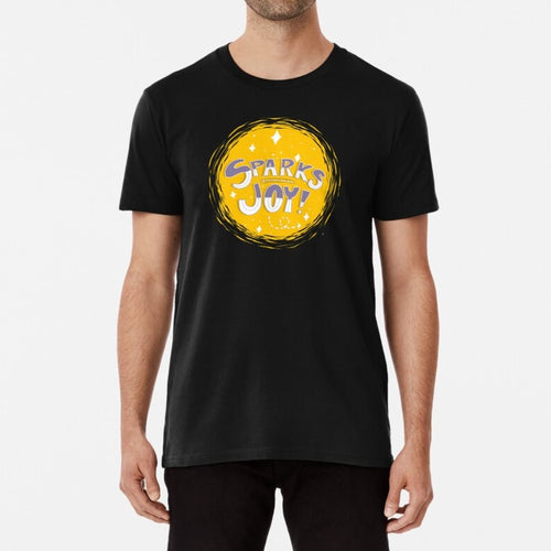 Sparks Joy Unisex Premium Cotton T-Shirt (Black) - MyDoodlesAteMe