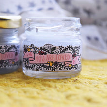 Load image into Gallery viewer, You Are Loved Mini Mason Jar Candles (Set of Two) - Jasmine & Frangipani - MyDoodlesAteMe